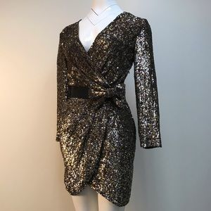 Phillip Lim gold sequin backless party dress
